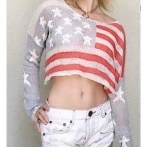 WILDFOX American Flag Cropped Sweater XS